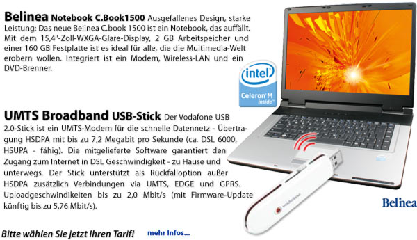 Mobiles Internet Notebook + UMTS USB-Stick
